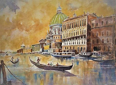 Gondolas on the Canal by Al Brown