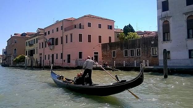 Gondolier on the Grand Canal  Venice by Rusty Woodward Gladdish