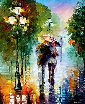 Gone With The Rain - PALETTE KNIFE Oil Painting On Canvas By Leonid Afremov by Leonid Afremov