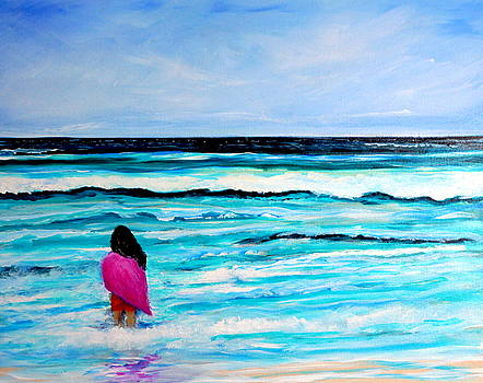 Goodbye Ocean Girl on Beach by Katy Hawk