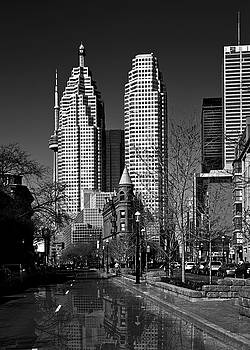 Gooderham Flatiron Building And Toronto Downtown Reflection by Brian Carson