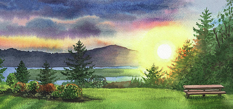 Gorgeous Sunset Watercolor Painting by Irina Sztukowski