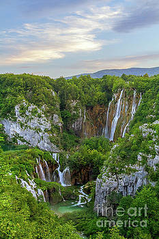 Gorgeous waterfall at evening light by Vyacheslav Isaev
