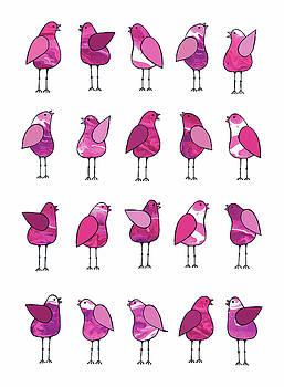 Gossip Birds Pink by Lisa Frances Judd