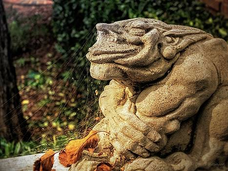 Gothic Garden Gargoyle Statue Spider Webs by Melissa Bittinger