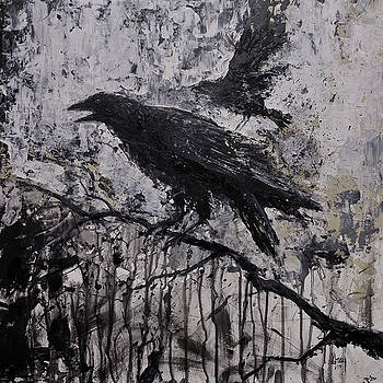 Gothic Raven Crow Painting  by Gray  Artus