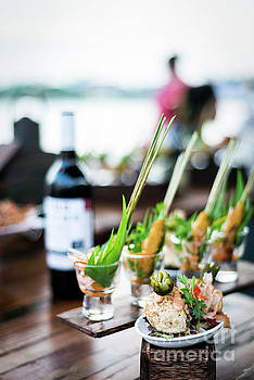 Gourmet Tapas Snack Food In Modern Outdoor Bar At Sunset by Jacek Malipan