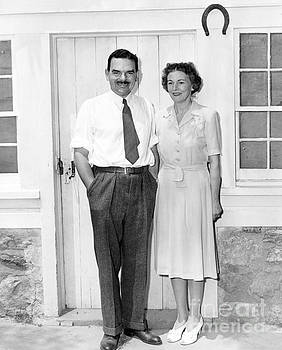 Governor of New York Thomas E Dewey standing next to his wife, Frances Hutt. by Barney Stein