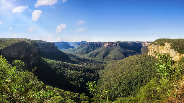 Govetts Leap Lookout Panorama, Australia by Daniela Constantinescu