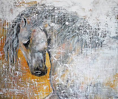 Abstract Horse Painting Graceful Beauty by Jennifer Morrison Godshalk