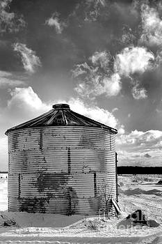 Grain Bin in Winter by Kristi Beers-Mason