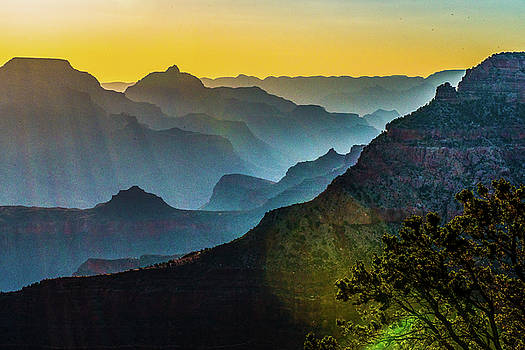 Grand Canyon in sunset color by Hisao Mogi