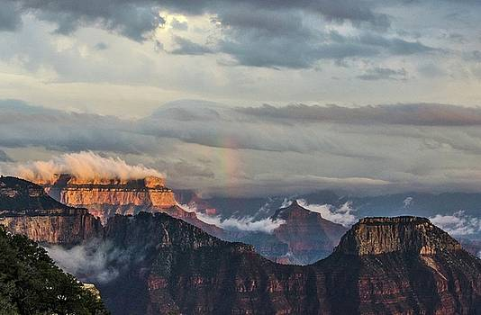 Grand Canyon monsoon rainbow by Gaelyn Olmsted