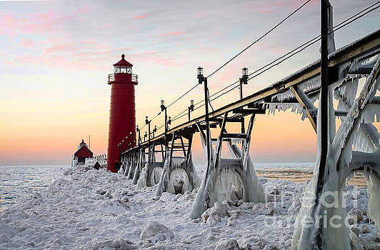 Icy Grand Haven Pier by OiLin Jaeger