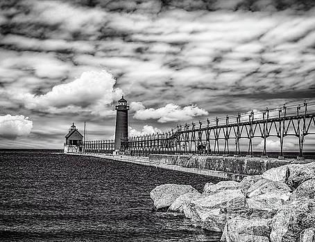 Grand Haven Lighthouse -BW by Nick Zelinsky
