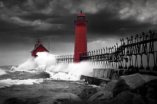 Randall Nyhof - Grand Haven Lighthouse in a Rain Storm