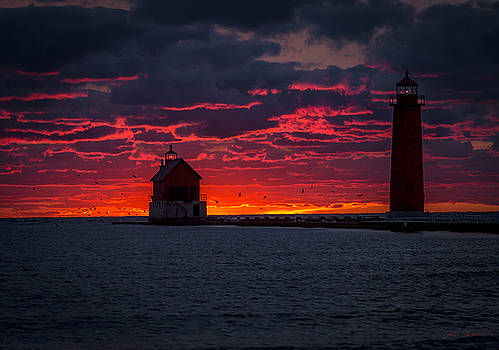 Grand Haven Michigan Red Sunset by J Thomas