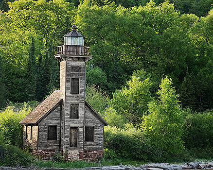 Grand Island Light House in Spring by Peg Runyan