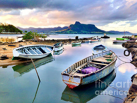 Grand Port in Mahebourg Mauritius with Lion Mountain in Distance by Christy Woodrow