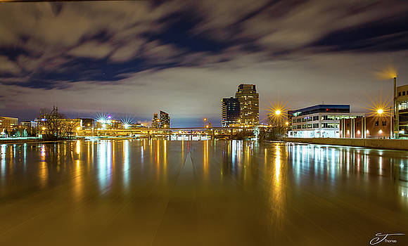 Grand Rapids at Night by J Thomas