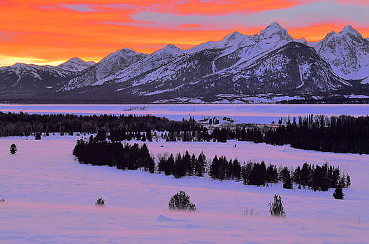 Grand Teton Winter Sunset by Stephen  Vecchiotti