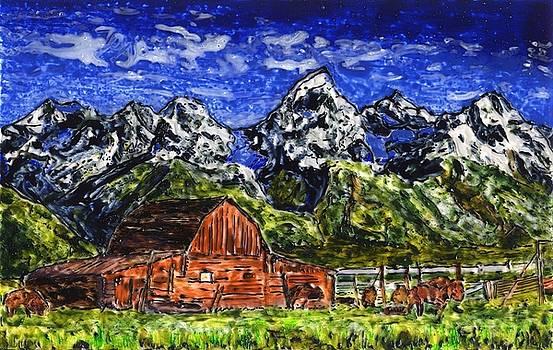 Grand Tetons with Buffalo by Phil Strang