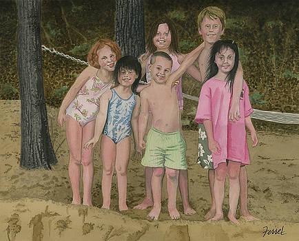 Grandkids On The Beach by Ferrel Cordle