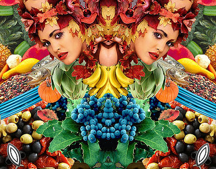 Grapes Bananas and Leaf Lady by Bruce Wood
