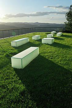Reimar Gaertner - Grass rooftop balcony overlooking Umbrian hills at sunset