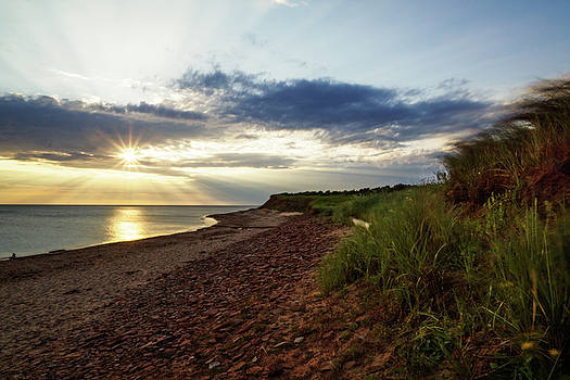 Grass Sways on Prince Edward Island Bluffs by Chris Bordeleau