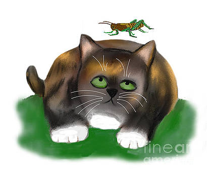 Grasshopper Leaps over Calico Kitten by Ellen Miffitt