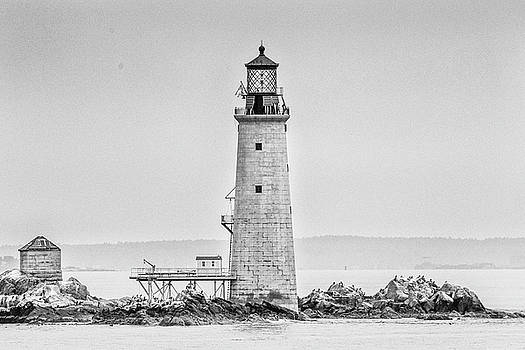 Graves Lighthouse- Boston, MA - Black and White by Peter Ciro