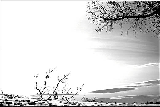 Gray Black White Sunset over Winter Mountains Landscape by Gretchen Wrede
