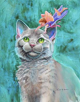 Gray Cat with Fairy by Rachel Armington