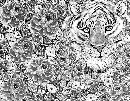 Grayscale cuddles the tiger  by Angela Whitehouse