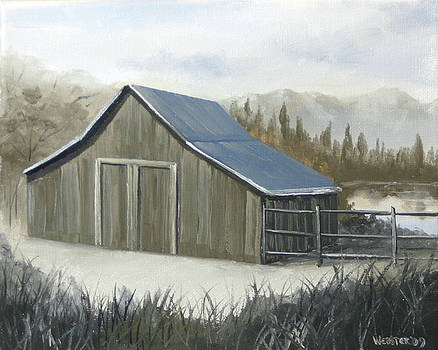 Grayscale Mountain Barn by Lake Oil Painting by Mark Webster