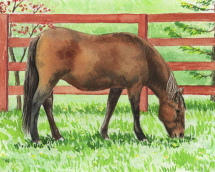 Grazing Horse Watercolor Painting by Irina Sztukowski