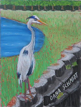 Great Blue Heron in Front of Orchard by Dana Schmidt