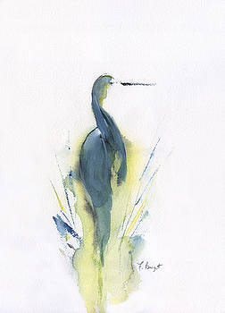 Blue Heron Turning by Frank Bright