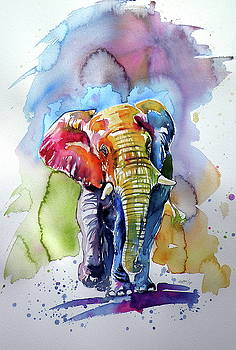 Great colorful elephant by Kovacs Anna Brigitta