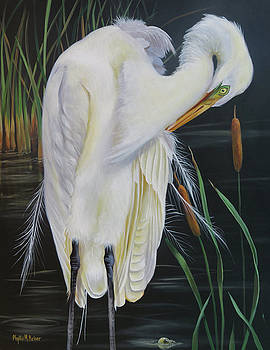 Great Egret In A Cattail Pond by Phyllis Beiser