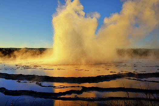 Great Fountain Geyser Sunset Eruption by Greg Norrell