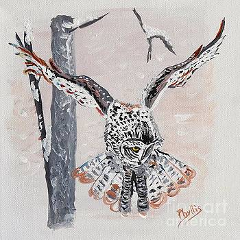 Great Gray Owl painting by Phyllis by Phyllis Kaltenbach