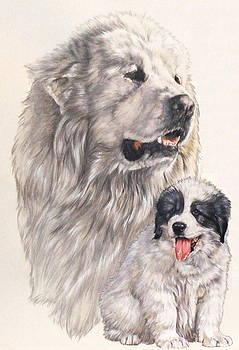 Barbara Keith - Great Pryenees and Pup