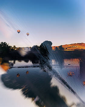 Great Reno Balloon Race Double Exposure and Reflection of Ducks and Balloons in Pond at Sunrise by Brian Ball