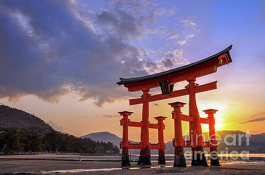 Delphimages Photo Creations - Great torii of Miyajima at sunset