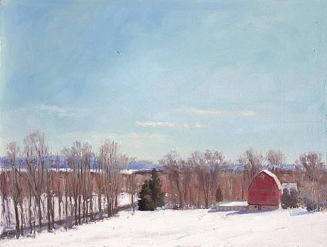 Great View Winter Farm- Plein air by Larry Seiler