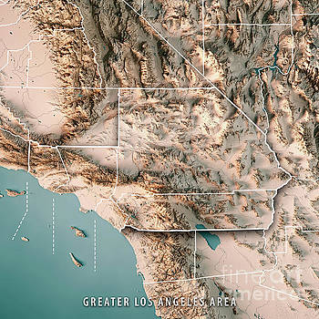 Frank Ramspott Artwork Collection Topographic Maps - Los angeles topographic map
