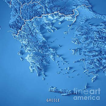 Greece Country 3D Render Topographic Map Blue Border by Frank Ramspott