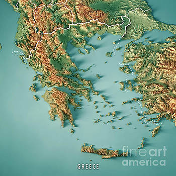 Greece Country 3D Render Topographic Map Border by Frank Ramspott